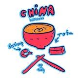 Comida de China con la sopa, el queso de soja y el camarón Foto de archivo