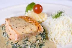 Comida de color salmón del filete a la carta Fotos de archivo