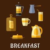 Comida de desayuno e iconos planos de las bebidas Foto de archivo libre de regalías