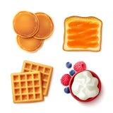 Comida de desayuno 4 para ver artículos Imágenes de archivo libres de regalías