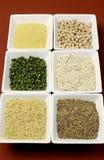 Comida de granos libre del gluten - arroz moreno, mijo, LSA, escamas del alforfón y garbanzos y legumbres de los guisantes verdes  Imagen de archivo libre de regalías