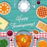 Comida de la acción de gracias en la tabla Tarjeta de felicitación de la acción de gracias en diseño plano del estilo ilustración del vector