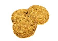 Comida de la avena de las galletas con la fresa. Fotografía de archivo