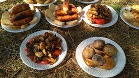 Comida de la barbacoa Salchichas y setas cocinadas en fire_2 Imágenes de archivo libres de regalías