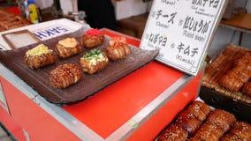 Comida de la calle de Kyoto Japón almacen de video
