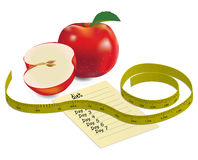 Comida de la dieta con las manzanas y la cinta de la medida Fotografía de archivo