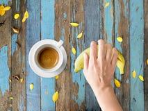 Comida de la dieta del café y del plátano Foto de archivo libre de regalías