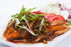 Comida de la fusión de los salmones fritos de los pescados con estilo tailandés de la comida Fotos de archivo libres de regalías