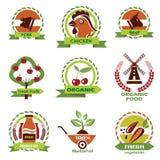 Comida de la granja, iconos de la agricultura stock de ilustración