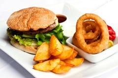 Comida de la hamburguesa Imagen de archivo libre de regalías