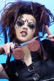 Comida de la muchacha de la araña Imagen de archivo