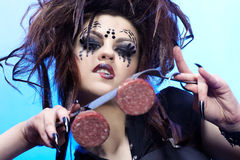 Comida de la muchacha de la araña Imagen de archivo libre de regalías