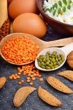 Comida de la proteína: huevos, almendras, lentejas, queso, nuez, y cuajada Imagenes de archivo