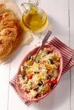 Comida de la quinoa con pan Imagenes de archivo