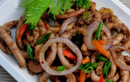 Comida de las Filipinas, Ng Baboy (intestinos cocidos de Adobong Isaw del cerdo) Imágenes de archivo libres de regalías