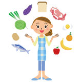Comida de los ingredientes del ama de casa libre illustration