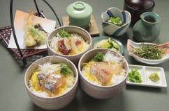 Comida de los mariscos con tempura del arroz, el rábano fermentado, el wasabi y el sar foto de archivo