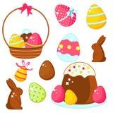 Comida de Pascua Los huevos, las tortas, los conejitos del chocolate y la otra comida tradicional de Pascua stock de ilustración