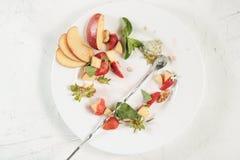 Comida de sobra de la ensalada de fruta en una placa blanca imagen de archivo libre de regalías