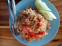Comida de Tailandia, arroz de Frie con el cerdo, no picante fotos de archivo