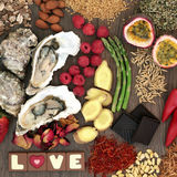Comida del afrodisiaco del día de tarjetas del día de San Valentín imágenes de archivo libres de regalías
