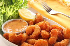 Comida del camarón. imagen de archivo