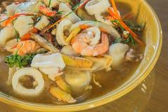 Comida del camarón y del calamar Fotografía de archivo
