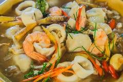Comida del camarón y del calamar Fotos de archivo libres de regalías