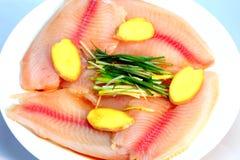 Comida del chino del filete de pescados del vapor Imagen de archivo libre de regalías