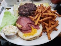Comida del comensal - hamburguesas y fritadas fotos de archivo libres de regalías