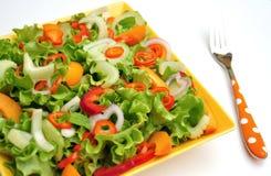 Comida del Detox con las verduras crudas en una placa Imagen de archivo
