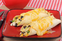Comida del Enchilada del pollo Imagen de archivo