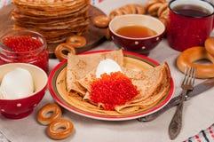 Comida del festival de Shrovetide Maslenitsa Fotografía de archivo libre de regalías