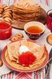 Comida del festival de Shrovetide Maslenitsa Imágenes de archivo libres de regalías