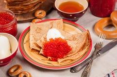 Comida del festival de Shrovetide Maslenitsa Imagenes de archivo