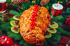 Comida del fondo de la Navidad Foto de archivo libre de regalías