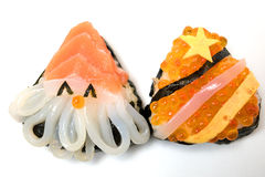 Comida del japonés del sushi de la Navidad y del Año Nuevo Imagen de archivo libre de regalías