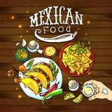Comida del mexicano del ejemplo Imagen de archivo