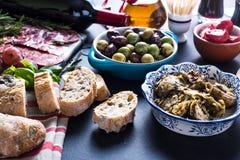 Comida del partido, tapas españoles Imagenes de archivo