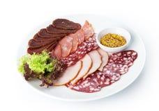 Comida del restaurante aislada - placa del surtido de la carne Fotos de archivo