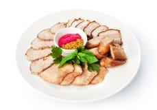 Comida del restaurante aislada - placa del surtido de la carne Fotografía de archivo