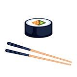 Comida del sushi y ejemplo del vector de los palillos Foto de archivo libre de regalías