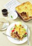 Comida del taverna de Pastitsio de arriba Foto de archivo libre de regalías
