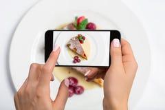 Comida del tiroteo en cámara del ` s del teléfono Pastel de queso de la frambuesa en una placa Fotógrafo de la comida Imagen de archivo libre de regalías