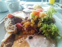 Comida del tocino del pan del desayuno Foto de archivo libre de regalías