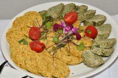 Comida del tomatoe del queso del jamón de la comida fría de la tabla Foto de archivo