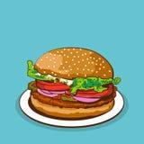 Comida del vector de la hamburguesa en la placa ilustración del vector