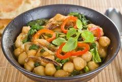 Comida del vegetariano del curry del garbanzo Foto de archivo libre de regalías