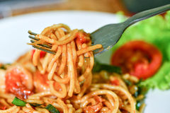 Comida deliciosa de los espaguetis Imagen de archivo