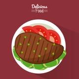 Comida deliciosa del cartel en fondo púrpura con el plato de la carne asada a la parrilla con las verduras stock de ilustración
